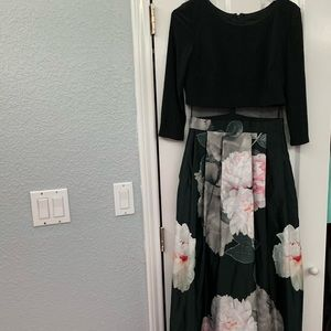 Long Black/Floral Evening Gown/ Prom Dress